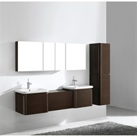 "Madeli Euro 72"" Double Bathroom Vanity with Integrated Basins - Walnut Euro-72-WA"