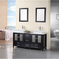 "Design Element Jacoby 61"" Double Sink Vanity Set Espresso DEC072"