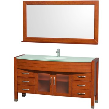 "Daytona 60"" Bathroom Vanity with Mirror by Wyndham Collection, Cherry WC-A-W2109-60-CH- by Wyndham Collection®"