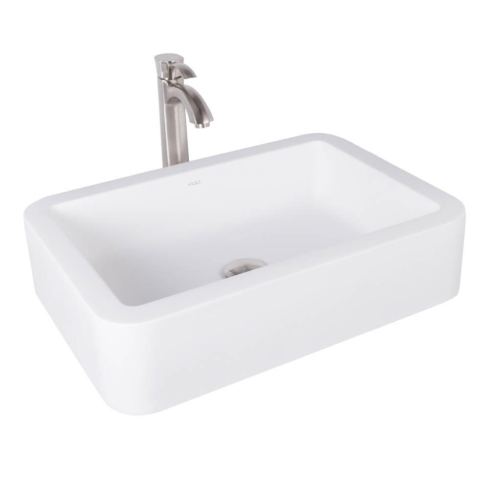 VIGO Navagio Matte Stone Vessel Sink and Otis Bathroom Vessel Faucet in Brushed Nickelnohtin Sale $285.90 SKU: VGT1008 :