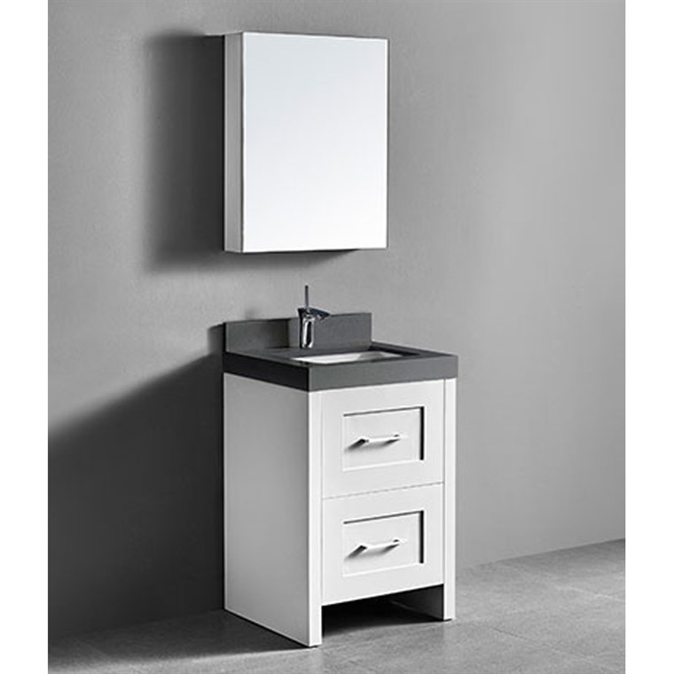 "Madeli Retro 24"" Bathroom Vanity for Quartzstone Top - Matte White B700-24-001-MW-QUARTZ"
