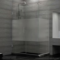 "DreamLine Unidoor Plus 29 to 36-1/2"" W x 30-3/8"" D x 72"" H Hinged Shower Enclosure, Half Frosted Glass Door SHEN-243XX300-HFR"