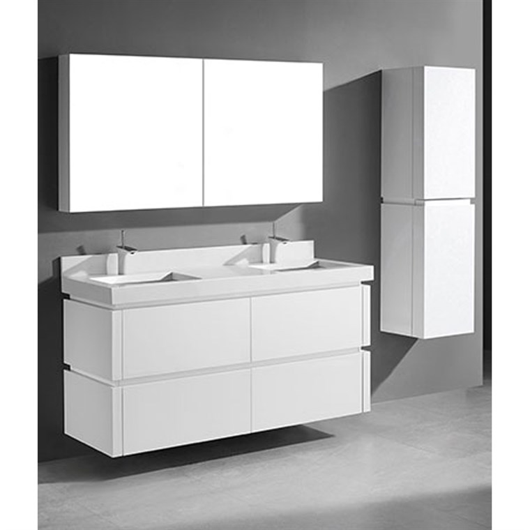 "Madeli Cube 60"" Double Wall-Mounted Bathroom Vanity for Quartzstone Top - Glossy White B500-60D-002-GW-QUARTZ"