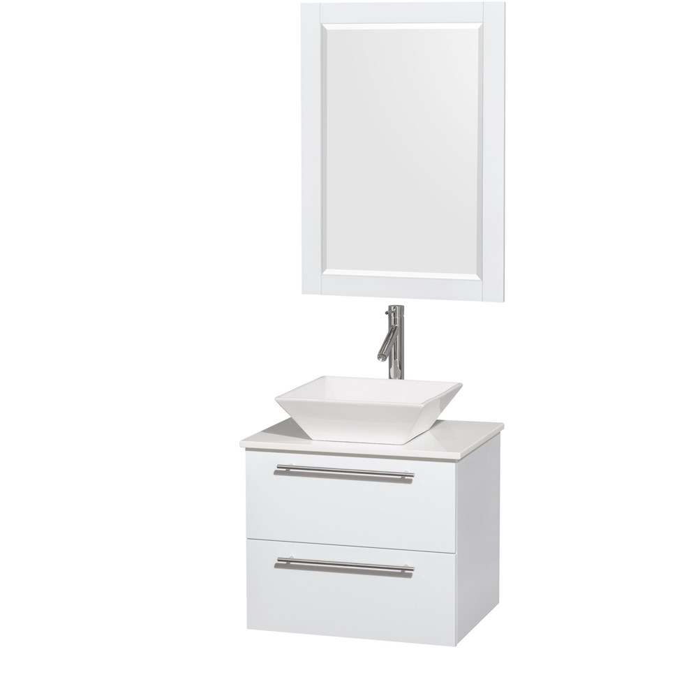 Amare 24 inch Wall Mounted Bathroom Vanity Set with Vessel Sink by Wyndham Collection Glossy White