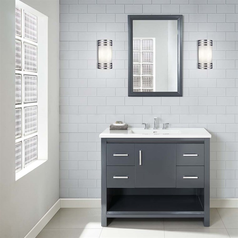 "Fairmont Designs Studio One 42"" Vanity with Integrated Top - Glossy Pewter 1518-V42-"