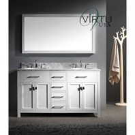 "Virtu USA Caroline 60"" Double Sink Bathroom Vanity - White MD-2060"