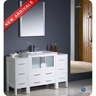 "Fresca Torino 54"" White Modern Bathroom Vanity with 2 Side Cabinets & Integrated Sink FVN62-123012WH-UNS"
