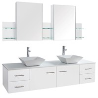 "Bianca 72"" Wall-Mounted Double Bathroom Vanity - White WHE007-72-WHT"