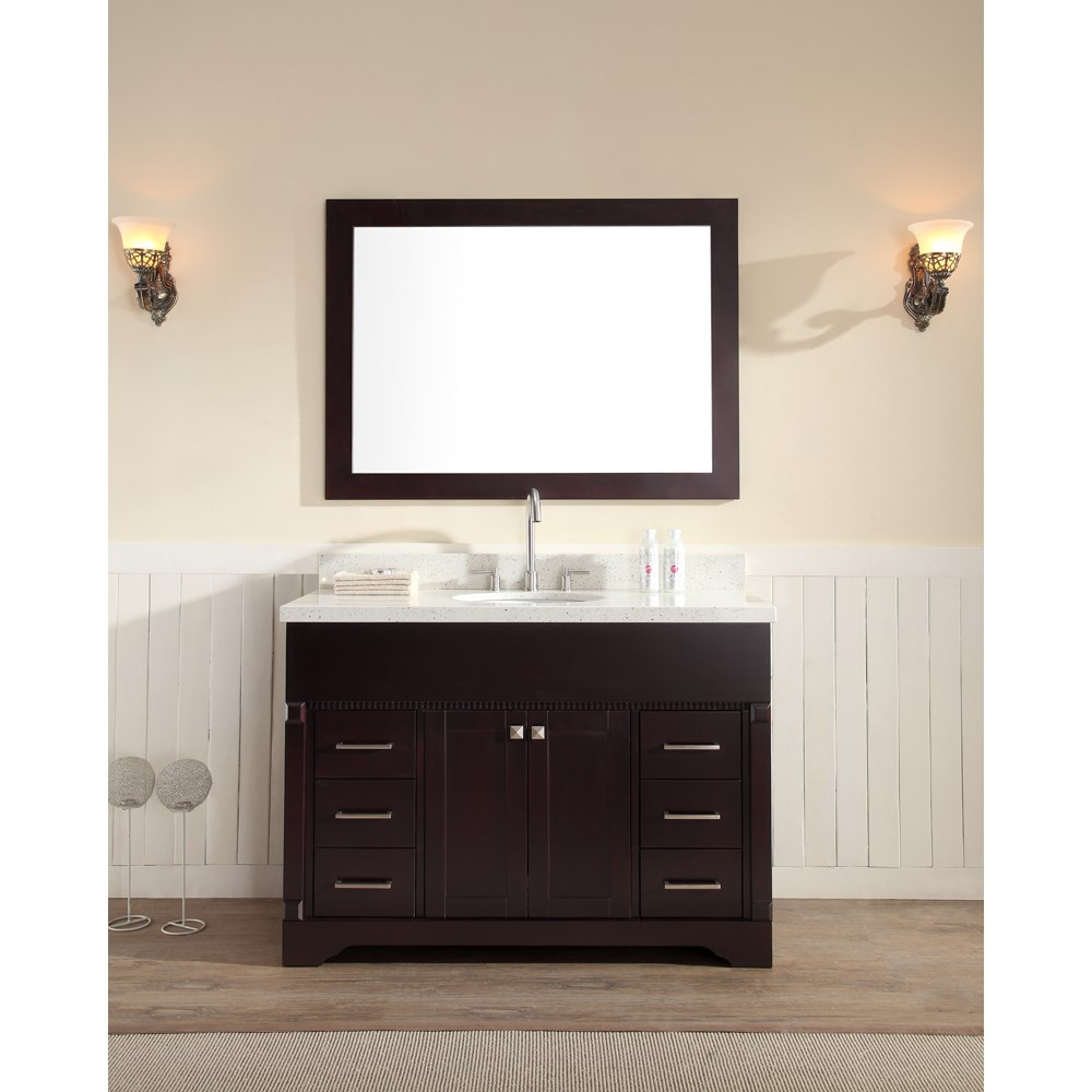 "Ariel Stafford 49"" Single Sink Vanity Set with White Quartz Countertop - Espressonohtin Sale $1449.00 SKU: M049S-ESP :"