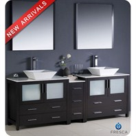 "Fresca Torino 84"" Espresso Modern Double Sink Bathroom Vanity with Side Cabinet, Vessel Sinks, and Mirrors FVN62-361236ES-VSL"
