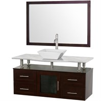 "Accara 48"" Wall Mounted Bathroom Vanity with Drawers - Espresso w/ White Carrera Marble Counter B706-WM-48-ESP-WHTCAR"