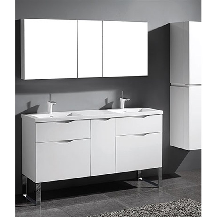 "Madeli Milano 60"" Double Bathroom Vanity for Integrated Basins - Glossy White B200-60D-021-GW"