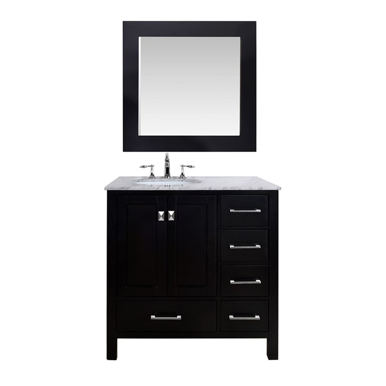 "Stufurhome 36"" Lissa Single Sink Bathroom Vanity - Espresso GM-6412-36-ESP"