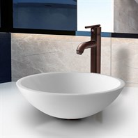 VIGO Flat Edged White Phoenix Stone Glass Vessel Sink with Oil Rubbed Bronze Faucet VGT210