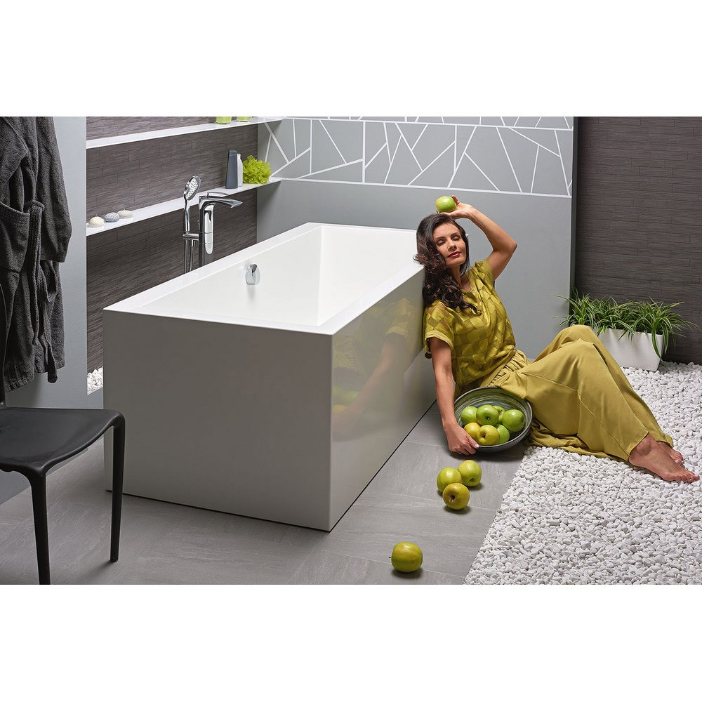 Aquatica Continental-Wht (PURESCAPE 714) Freestanding Solid Surface Bathtub - White Aquatica PS714M