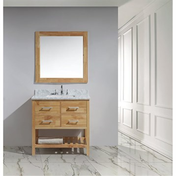 """Design Element London 36"""" Vanity with Open Bottom, White Carrera Countertop, Sink and Mirror, Honey Oak DEC077A-O by Design Element"""