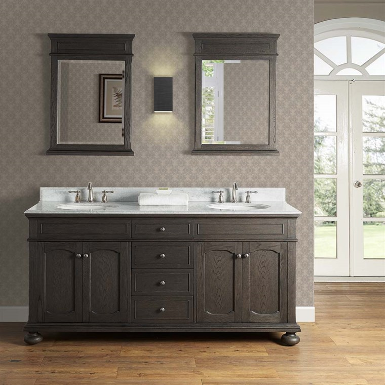 "Fairmont Designs Oakhurst 72"" Double Bowl Vanity for Undermount Oval - Burnt Chocolate 1536-V7221D_"