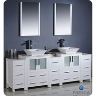 "Fresca Torino 84"" White Modern Double Sink Bathroom Vanity with 3 Side Cabinets, Vessel Sinks, and Mirrors FVN62-72WH-VSL"