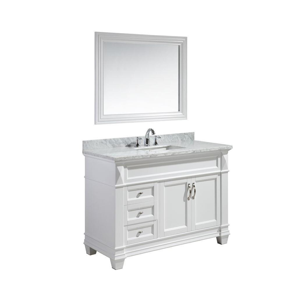"Design Element Hudson 48"" Single Sink Vanity Set with White Carrara Marble Top - Whitenohtin Sale $1499.00 SKU: DEC059B-W-W :"