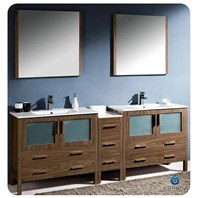 "Fresca Torino 84"" Walnut Brown Modern Double Sink Bathroom Vanity with Side Cabinet & Integrated Sinks FVN62-361236WB-UNS"