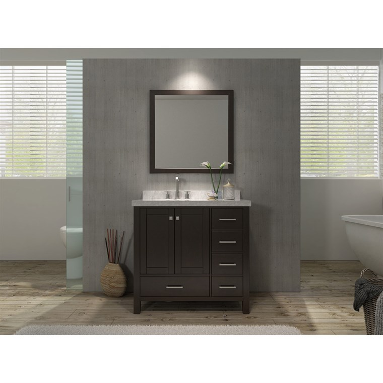 "Ariel Cambridge 37"" Single Sink Vanity Set with Left Offset Sink and Carrera White Marble Countertop - Espresso A037S-L-ESP"