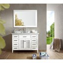 "Ariel Kensington 49"" Single Sink Vanity Set with Carrera White Marble Countertop - White D049S-WHT"