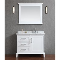 "Seacliff by Ariel Nantucket 42"" Single Sink Bathroom Vanity Set with Carrera White Marble Countertop - Alpine White SCNAN42SWH"