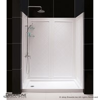 "Bath Authority DreamLine SlimLine Single Threshold Shower Base and QWALL-5 Shower Backwalls Kit (30"" by 60"") DL-6189"