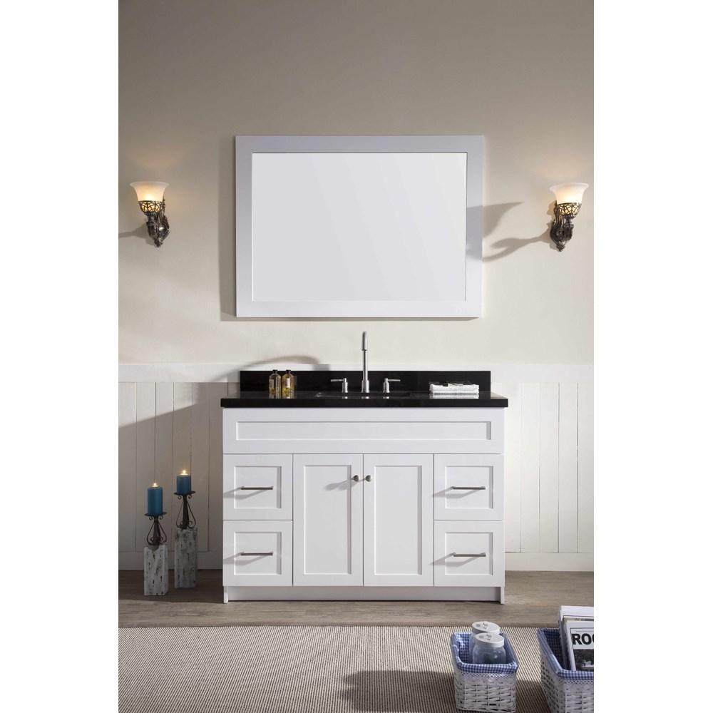 "Ariel Hamlet 49"" Single Sink Vanity Set with Absolute Black Granite Countertop in Whitenohtin Sale $1299.00 SKU: F049S-AB-WHT :"