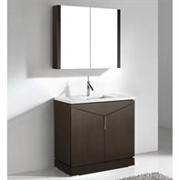 "Madeli Savona-36"" Bathroom Vanity with Quartzstone Top - Walnut B925-36-001-WA-QUARTZ"