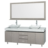 "Malibu 72"" Double Bathroom Vanity Set by Wyndham Collection - Gray Oak Finish with White Carrera Marble Counter and Handles WC-CG3000H-72-GROAK-WHTCAR"