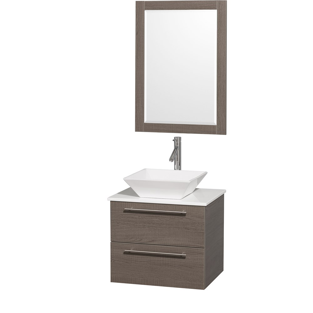 Amare 24 inch Wall Mounted Bathroom Vanity Set with Vessel Sink by Wyndham Collection Gray Oak
