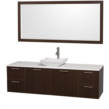 """Amare 72"""" Wall-Mounted Single Bathroom Vanity Set with Vessel Sink by Wyndham Collection, Espresso... by Wyndham Collection®"""
