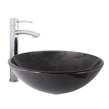 Vigo Gray Onyx Glass Vessel Sink and Milo Bathroom Vessel Faucet in Chrome VGT1031 by Vigo Industries