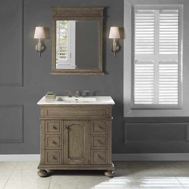 "Fairmont Designs Oakhurst 36"" Vanity for Integrated Top - Antique Grey 1535-V36-"