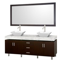 "Malibu 72"" Double Bathroom Vanity Set by Wyndham Collection - Espresso Finish with White Carrera Marble Counter and Handles WC-CG3000H-72-ESP-WHTCAR-"