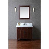 "Seacliff by Ariel Redford 36"" Single Sink Vanity Set with Carrera White Marble Countertop - Walnut SC-RED-36-TWA"