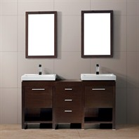 "Vigo 59"" Adonia Double Bathroom Vanity with Mirrors - Wenge VG09027118K"