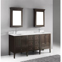 "Madeli Torino 72"" Double Bathroom Vanity - Walnut B970-24-001-WA-X2, UC970-12-007-WA-X2"