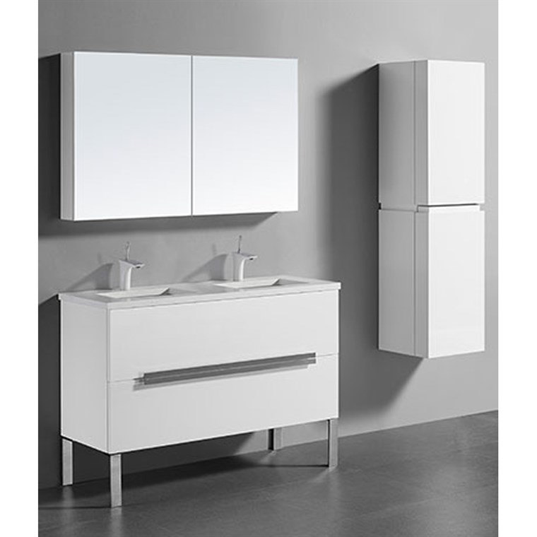 "Madeli Soho 48"" Double Bathroom Vanity for Quartzstone Top - Glossy White B400-48D-001-GW-QUARTZ"