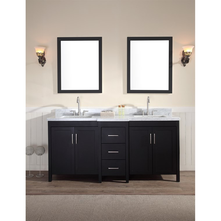 "Ariel Hollandale 73"" Double Sink Vanity Set with Carrera White Marble Countertop - Black E073D-BLK"