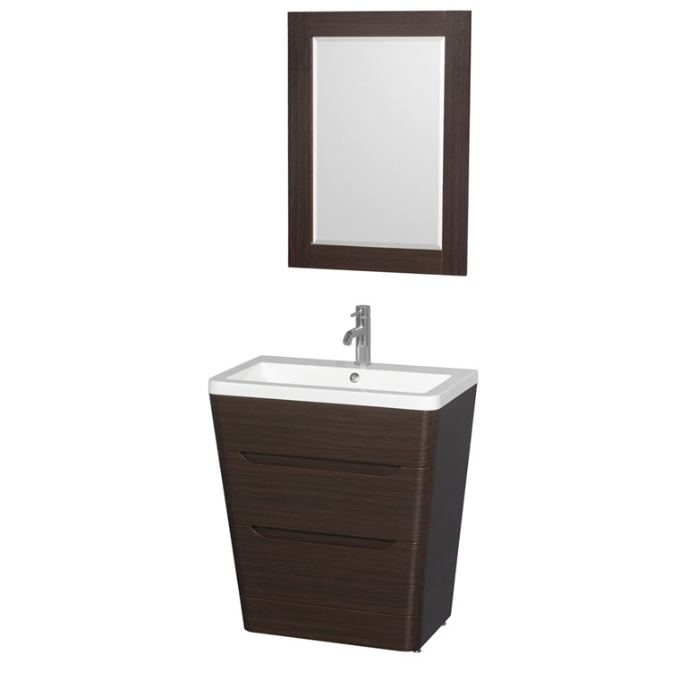 "Caprice 30"" Bathroom Pedestal Vanity Set with Integrated Sink by Wyndham Collection - Espresso WC-7778-30-VAN-ESP"