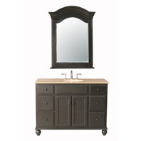 "Stufurhome 48"" Alvina Single Sink Vanity with Travertine Marble Top and Mirror - Dark Brown GM-6115-48-TR"