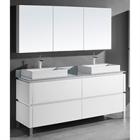 "Madeli Metro 72"" Double Bathroom Vanity for Glass Counter and Porcelain Basin - Glossy White B600-72D-001-GW-GLASS"