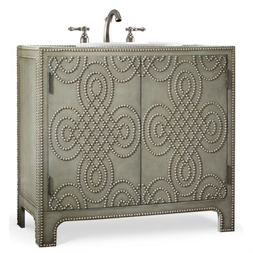 "Cole & Co. 36"" Designer Series Bridgette Vanity Chest, Dove Grey Weathered Leather 11.22.275536.59 by Cole & Co."