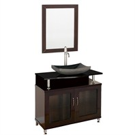 "Accara 36"" Bathroom Vanity - Doors Only - Espresso w/ Black Granite Counter B706-36-DR-ESP-BLK-GR"