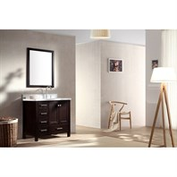 "Ariel Cambridge 37"" Single Sink Vanity Set with Right Offset Sink and Carrera White Marble Countertop - Espresso A037S-ESP-R"