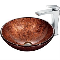 VIGO Mahogany Moon Vessel Sink in Copper with Chrome Faucet VGT179