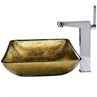 VIGO Rectangular Copper Glass Vessel Sink and Faucet Set in Chrome VGT155
