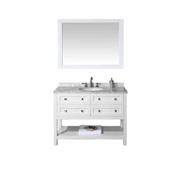 "Stufurhome Marla 48"" Single Sink Bathroom Vanity with Mirror, White HD-6868-48-CR by Stufurhome"